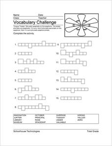 Vocabulary Challenge Worksheet