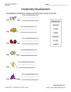 Vocabulary Development Worksheet