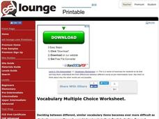 Vocabulary Multiple Choice Worksheet Worksheet