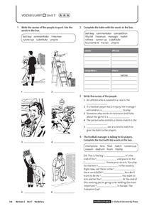 Vocabulary Unit 7.3: Sports Worksheet