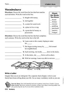 Vocabulary Worksheet Worksheet