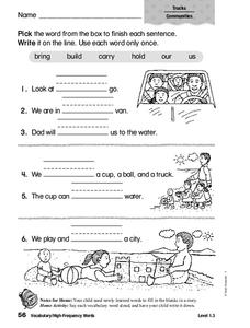 Vocabulary: High Frequency Words Worksheet