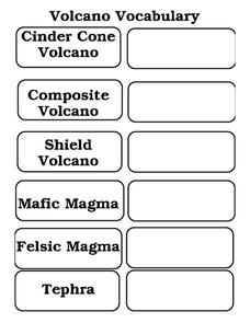 Volcano Vocabulary Worksheet