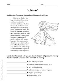 Volcano! Worksheet