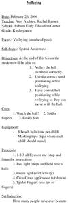 Volleying Lesson Plan