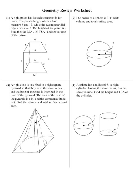 Volume And Surface Area Worksheet For 10th Grade Lesson