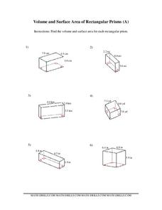 Volume and Surface Area of Rectangular Prisms Worksheet