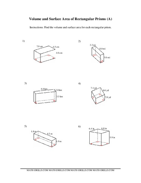 Volume and Surface Area of Rectangular Prisms 7th - 10th Grade ...