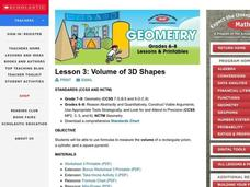 Volume of 3D Shapes Lesson Plan