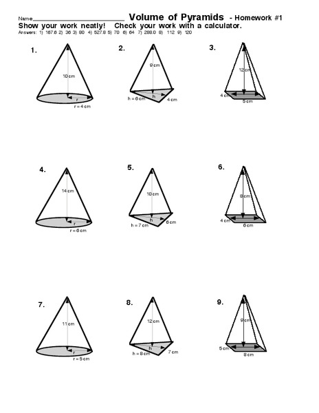 Volume Of Pyramids Worksheet For 7th 9th Grade Lesson