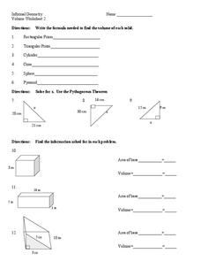 Volume of Solids Worksheet