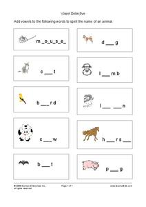 Vowel Detective Worksheet
