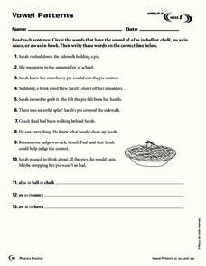 Vowel Patterns Worksheet