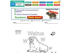 W is for Walrus Worksheet
