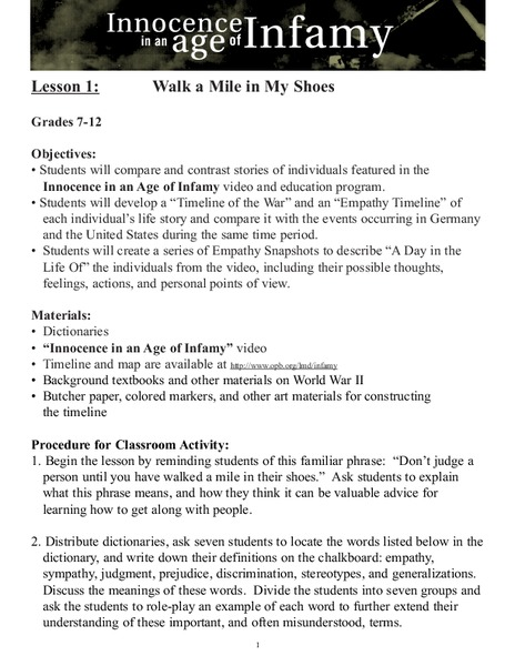 Walk a Mile in My Shoes Lesson Plan