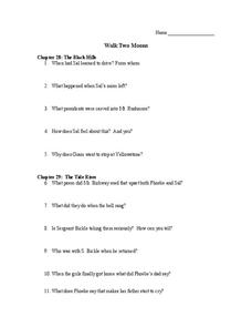 Walk Two Moons Worksheet
