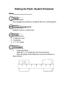 Walking the Plank Worksheet