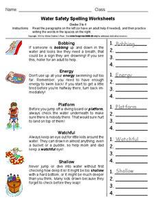 water safety spelling worksheets worksheet for 3rd 4th grade lesson planet. Black Bedroom Furniture Sets. Home Design Ideas