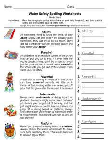 water safety spelling worksheets worksheet for 5th 6th grade lesson planet. Black Bedroom Furniture Sets. Home Design Ideas