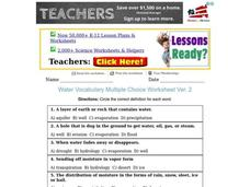 Water Vocabulary Worksheet