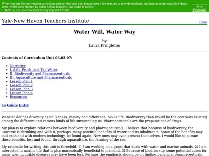 Water Will, Water Way Lesson Plan