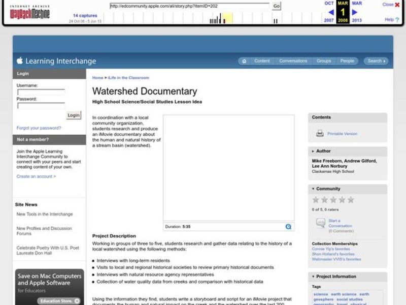 Watershed Documentary Lesson Plan