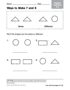 Ways to Make 7 and 8 Worksheet
