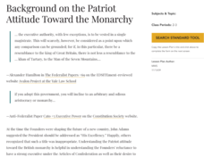 Background on the Patriot Attitude toward the Monarch Lesson Plan