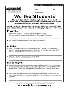 We the Students Worksheet