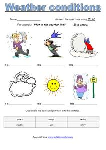 weather conditions worksheet for 1st 3rd grade lesson planet. Black Bedroom Furniture Sets. Home Design Ideas