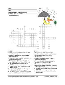 Weather Crossword Puzzle Worksheet 5th - 6th Grade Worksheet ...
