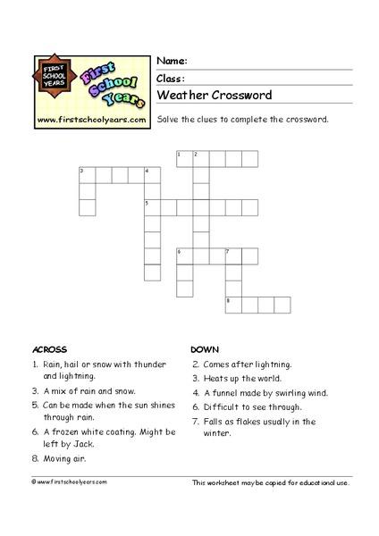 weather crossword worksheet for 4th 6th grade lesson planet. Black Bedroom Furniture Sets. Home Design Ideas