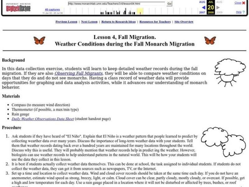 Weather Conditions During The Fall Monarch Migration Lesson Plan