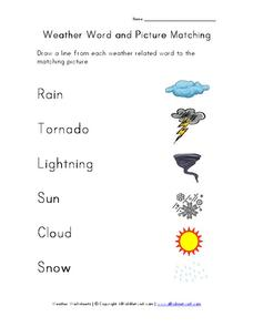 Weather Word and Picture Matching Worksheet