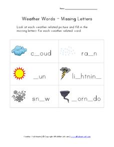 Weather Words - Missing Letters Worksheet