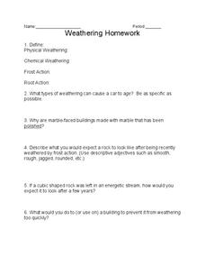 Weathering Worksheet