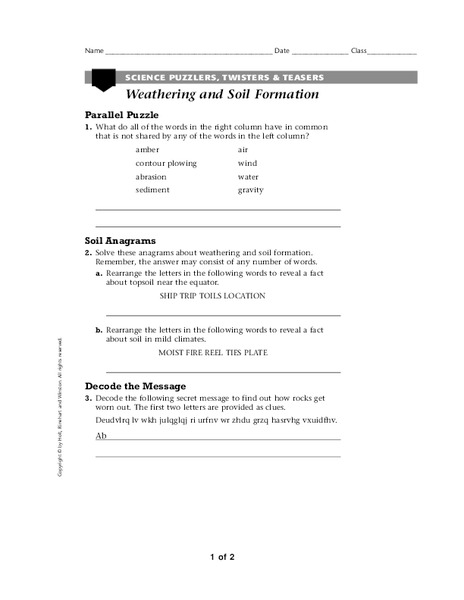 Weathering and Soil Formation Worksheet