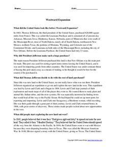 westward expansion worksheet for 4th 6th grade lesson planet. Black Bedroom Furniture Sets. Home Design Ideas