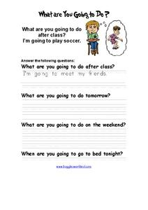 What Are You Going To Do? Answering Questions Worksheet