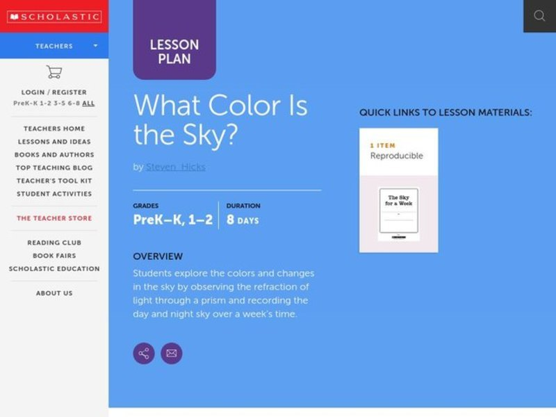 What Color is the Sky? Lesson Plan