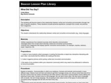 What Did You Say? Lesson Plan
