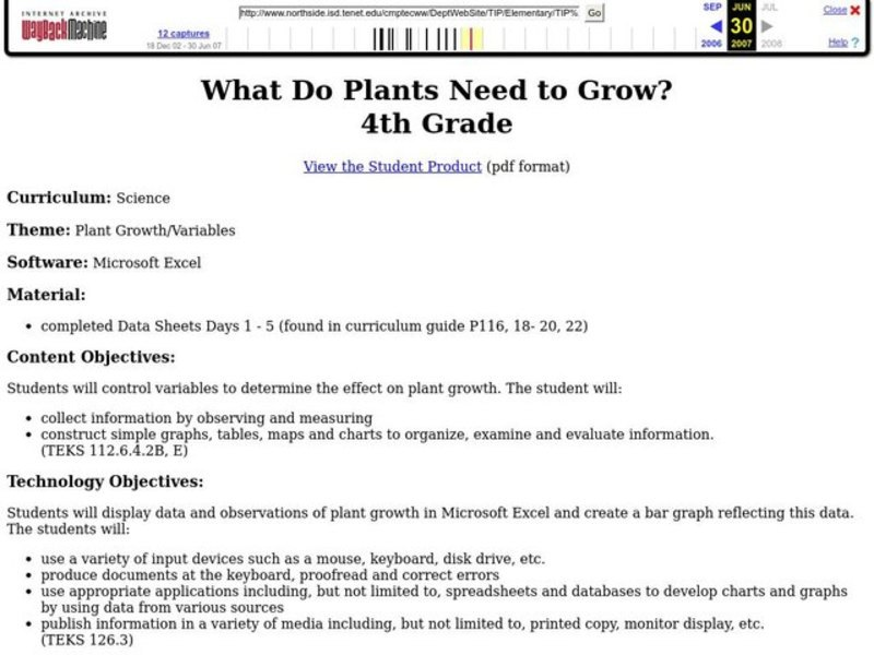 What Do Plants Need to Grow? Lesson Plan