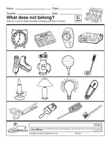 What Does Not Belong? Worksheet