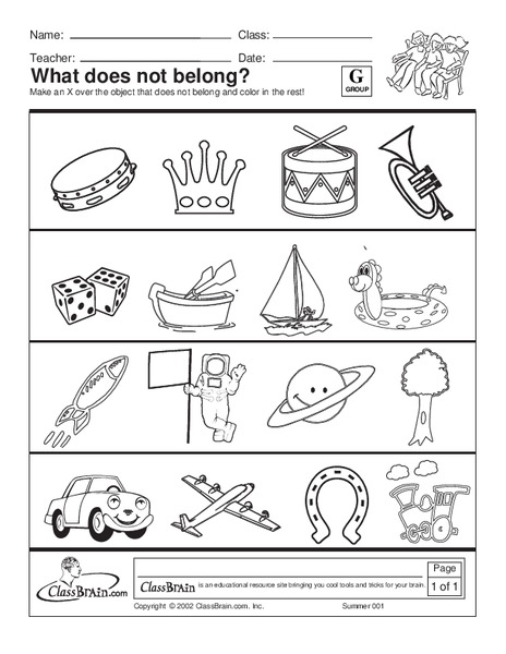 What Doesn T Belong Worksheets For Kindergarten