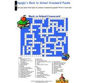 Back To School Crossword Worksheet