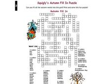 Autumn Fill In Worksheet