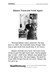 Edison Tried and Tried Again Worksheet