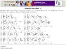 Balancing Worksheet Worksheet