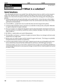 What is a Solution? Worksheet