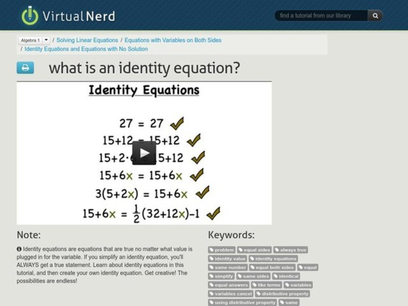 What is an Identity Equation? Video